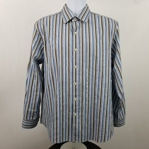 Tommy Bahama Mens Gray Brown Striped Dress Shirt L
